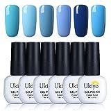 Ukiyo 6PCS Soak Off kit smalto semipermanente blu 8ml UV LED Smalto semipermanente unghie in Gel gel polish Nail Art set
