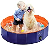 Pidsen Upgraded Foldable Pet Swimming Pool Portable Dog Pool Kids Pets Dogs Cats Outdoor Bathing Tub Bathtub Water Pond Pool & Kiddie Pools (31.5inch.D x 7.87inch.H, Orange)
