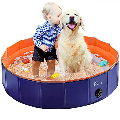 Pidsen Foldable Pet Swimming Pool Portable Dog Pool Kids Pets Dogs Cats Outdoor Bathing Tub Bathtub Water Pond Pool & Kiddie Pools