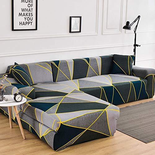 ASCV Geometrische Eck-Sofabezüge für Wohnzimmer Elastische Schonbezüge Couchbezug Stretch-Sofa Handtuch L Form Need Buy 2Pieces A4 1-Sitzer