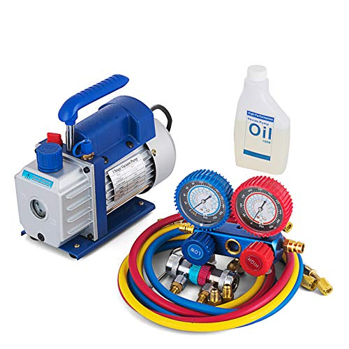 BLTPress 3.5 CFM Vacuum Pump Kit 1/4 HP Single Stage Vacuum Pump and R134a AC Manifold Gauge Set Kit for HVAC Air Conditioning Refrigeration Recharging