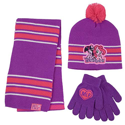 Hasbro Pony Hat, Scarf and Gloves Cold Weather Set, Little Age, Purple, Girls, Ages 4-7