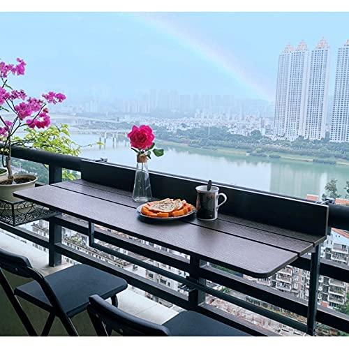 JIE KE Estante de exhibición para balcón, barandilla, escritorio plegable, mesa de bar para balcón, altura ajustable, organizador de almacenamiento (tamaño: 120 x 27 cm)