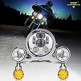 Auxbeam 5.75 LED Motorcycle Headlight Kit w/ Fog Passing Lights Replacement for Harley Davidson Suzuki Kawasaki Yamaha Metric Cruisers, 5-3/4 inch LED Headlight Kit for Honda Full Plating Housing