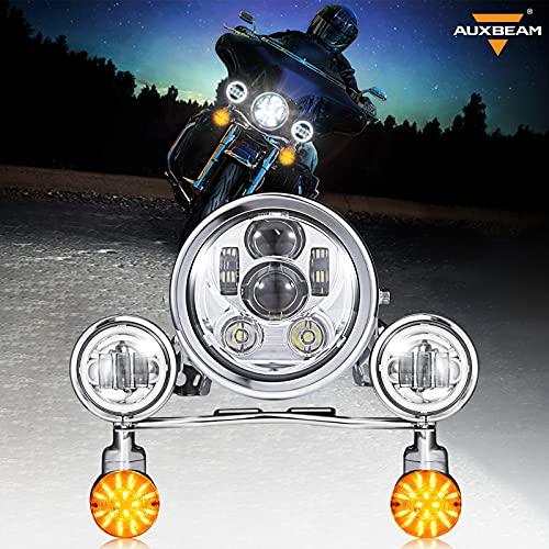 Auxbeam 5.75 LED Motorcycle Headlight Kit w/ Fog Passing Lights Replacement for Harley Davidson Suzuki Kawasaki Yamaha Metric Cruisers,...