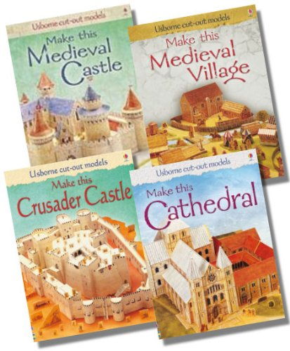 Usborne Cut-out Models Historical Building Collection - 4 Books RRP £27.96 (Make this Crusader Castle; Make this Medieval Village; Make this Cathedral; Make this Medieval Castle)