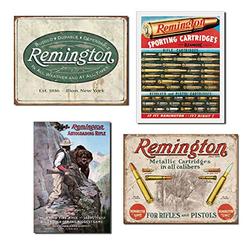 Paquete: Remington Signs – Logotipo de Remington Weathered – Cartuchos Remington, Remington Right of Way y Remington para rifles y pistolas
