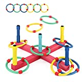 BEAURE Ring Toss Game Sets - Outdoor & Indoor Sport Toys with 6 Rubber Rings, Easy to Assemble, Fun Family and Friends Toss Yard Games, Parent-Child Games, Great Gift Party Favors for Kids and Adults