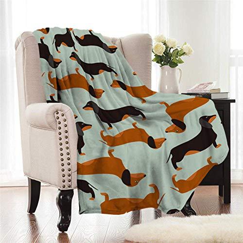 Xzfddn Manta de franela Dachshund con dibujos animados de colores coral manta de franela para niños, manta de cama de perro, cachorro, cálido y suave colchas