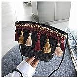 Bolsos Mujer Bolso para Mujer Hombro Messenger Bag Satchel Tote Purse Cross Body Estilo Nacional Straw Tassels Bags Black