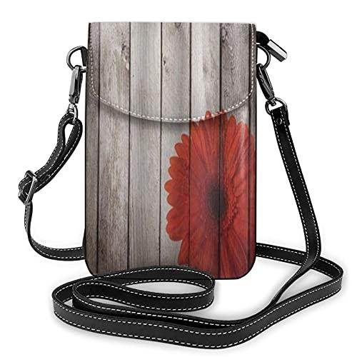 ADONINELP Leder Handytasche Umhängetasche Holz Gartenzaun mit einem roten Gänseblümchen Kleine Umhängetasche Handy Geldbörse Geldbörse Handtaschen Umhängetasche Handytasche Tasche für Frauen Mädchen