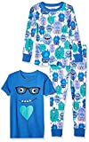 Spotted Zebra Girls' Toddler Snug-Fit Cotton Pajamas Sleepwear Sets, 3-Piece Monsters, 4T, Label: 4T