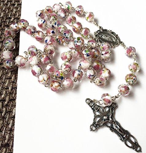 elegantmedical Handmade ROSE PINK Veluriyam BEADS GUADALUPE ROSARY & ITALY CROSS Catholic necklace