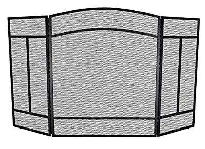 """Fire Beauty Fireplace Screen 3 Panel Wrought Iron 48""""(L) x 29""""(H) Spark Guard Cover(Black) from Fire Beauty"""