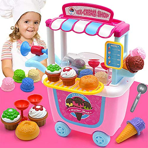 mwg exports co 31pcs ice cream cart pretend toys playset with carrying case for over 2 years old kids toddlers stem toy gift for boys girls infants children-Pink