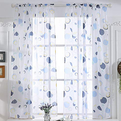 ppactvo Cortinas habitacion Blancas visillos Bordados Cortinas Transparentes para Ventanas 100X200,Blue