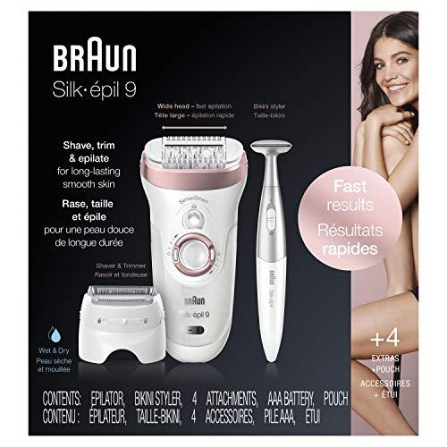Braun Epilator for Women, Hair Removal for Women, Silk-épil 9-890 SensoSmart Electric Shaver and Bikini Trimmer, Women's Epilator