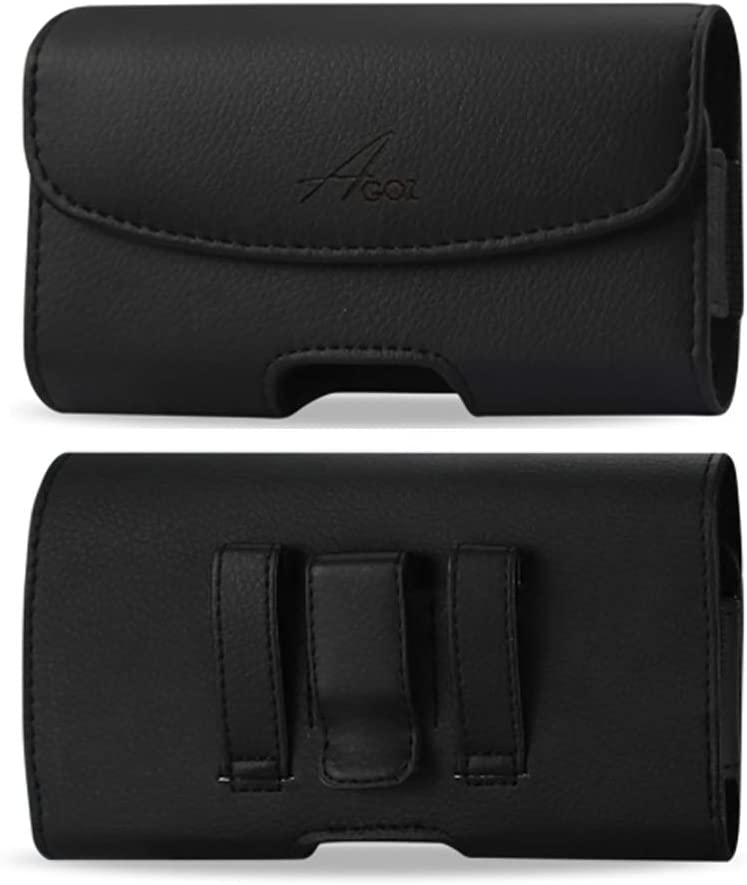 Agoz Samsung Galaxy S8 Active Holster, Galaxy S7 Active Belt Clip Case with Belt Clip/Belt Loops, Leather Cell Phone Pouch for Samsung S8 Active / S7 Active(for Bare Phone)