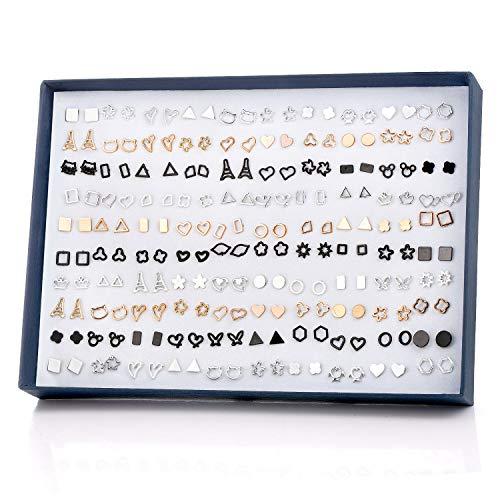 Pendientes para Niñas - Comius Sharp 100 Pares Pendientes Hipoalergénicos para Niñas Color Triángulos Geométricos Aretes para Mujeres Niñas Juego Aretes