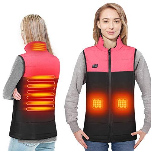 Beheizte Weste USB Lade Heizweste für Damen, Elektrische Beheizte Jacke Beheizbare Weste Jacke mit unabhängige Heizung hinten für Outdoor Wandern Motorrad, Heizjacke für Winter Jagd (S)