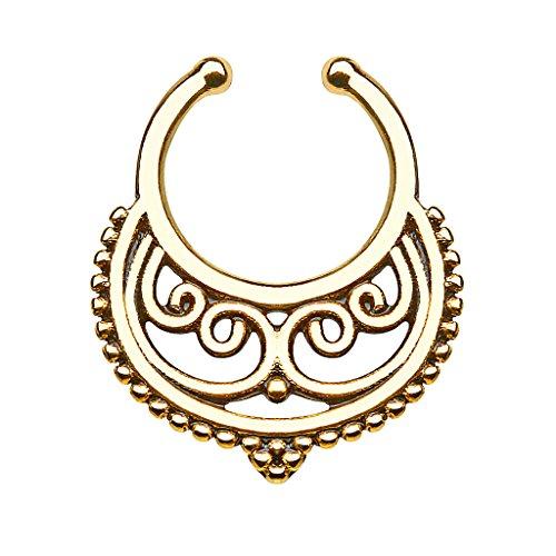 Piercingfaktor® Fake Piercing Universal Ring Septum Vintage Tribal Halbmond mit Ringen Nasen Lippen Helix Ohr Intim Tragus Nippel Hufeisen Horseshoe Lippenbändchen Gold