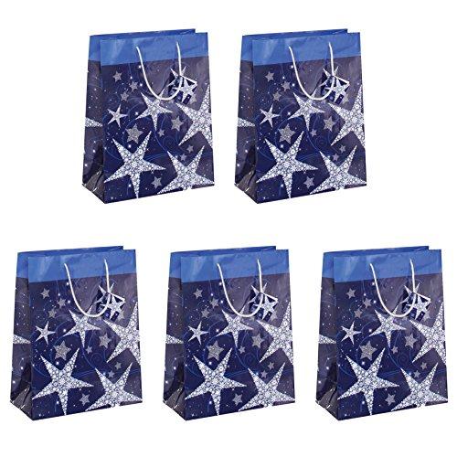 SIGEL GT025 große Papier-Geschenktüten 33 x 26 cm, Weihnachten 5er Set, blau - weitere Größen