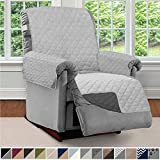 Sofa Shield Original Patent Pending Reversible Large Recliner Protector, Seat Width to 28 Inch, Furniture Slipcover, 2 Inch Strap, Chair Slip Cover Throw for Pets, Recliner, Light Gray Charcoal