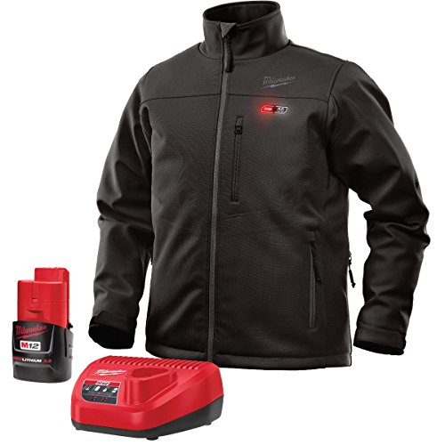 Milwaukee Jacket KIT M12 12V Lithium-Ion Heated Front and Back Heat Zones All Sizes and Colors - Battery and Charger Included (Medium, Black) Nebraska