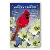 NORTH CAROLINA BIRD AND FLOWER postcard set of 20 identical postcards. NC state symbols post cards. Made in USA. [並行輸入品]