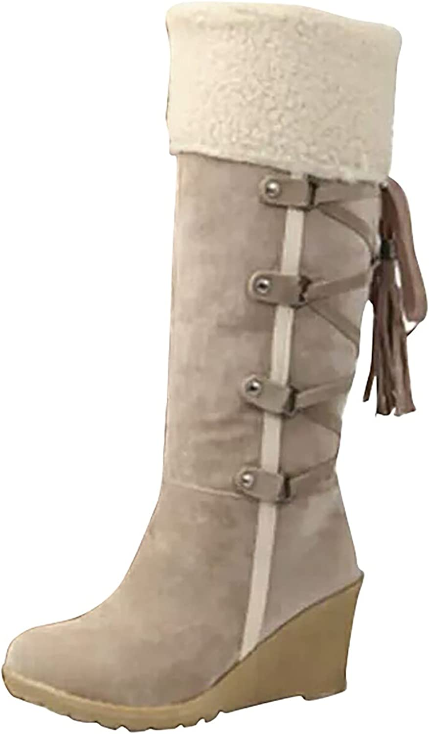 New Western Cowboy Boots For Women Fashion Deer Head Flower Embroidered Low Heel Women'S Mid-Calf Boots Thick Heel Outdoor No-Slip Knight Boots Comfortable Personality All-Match Ladies Work Boots