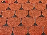 Isolbau Dachschindeln 2 m² Biberschindeln Ziegelrot (14 Stk) Schindeln Dachpappe Bitumenschindeln Gartenhaus Vogelhaus Holz Kaninchenstall Betonsäulenüberdeckung Hundehütte