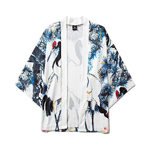 EUZeo_Herren Shirts Unisex Herren Damen Drache-Druck Frühling-Sommer Kimono Cardigan Japan Kimono Jacke Yukata Coat Ukiyoe Baggy Tops Morgenmantel Satin Bademantel Negligee mit Pfau und Blumen Muster