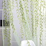 Towallmark Willow Voile Tulle Room Window Curtain Sheer Voile Panel Drapes Curtain 39.4'' x 78.8' L (Green)