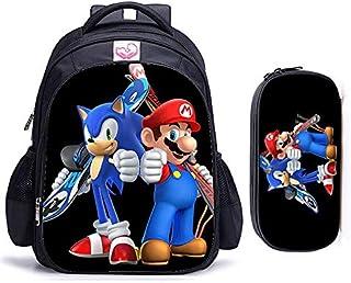 Sonic Cartoon Mochila 2 piezas/lote de 16 pulgadas Sonic Hedgehog Mario Bros, mochila para niños encantadora mochila escolar para niños y niñas ortopédica