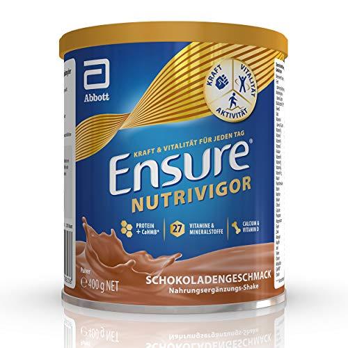 Ensure NutriVigor Nahrungsergänzungsmittel mit 27 Vitamine und Mineralstoffe, 1,5 g HMB und 8,65 g Protein, für mehr Kraft, Vitalität und eine schnelle Genesung, Schokolade (1 x 400g)
