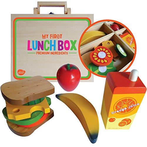 bee SMART — en Bois Sandwich Pretend Play Food Set – Pretend Play Jouet Nourriture – Ensemble de Fabrication de Sandwich pour Seulement (en Bois Play Nourriture 10 pièces)