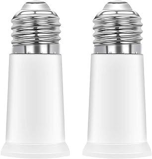 2 Piezas Extensiones E27 de 8 cm, aAdaptador de Base de Lámpara de Extensión de Portalámparas, Convertidor de Lámpara Incandescente para Portalámparas E27 para Lámparas LED y Lámparas CFL