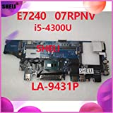 Lysee Laptop Repair Components - SHELI for DELL E7240 Laptop Motherboard CN-07RPNV 07RPNV 7RPNV LA-9431P With SR1ED I5-4300U CPU DDR3L working well 100% tested