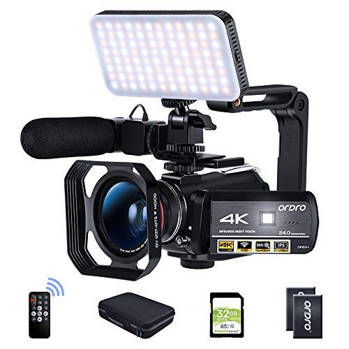 Ordro AC3 Video Camera 4K Camcorder HD 1080P 60FPS Digital Camera IR Night Vision with Microphone, Wide Angle Lens,LED Light, Lens Hood, Handle,32GB SD Card, 2 Batteries,Carrying Case
