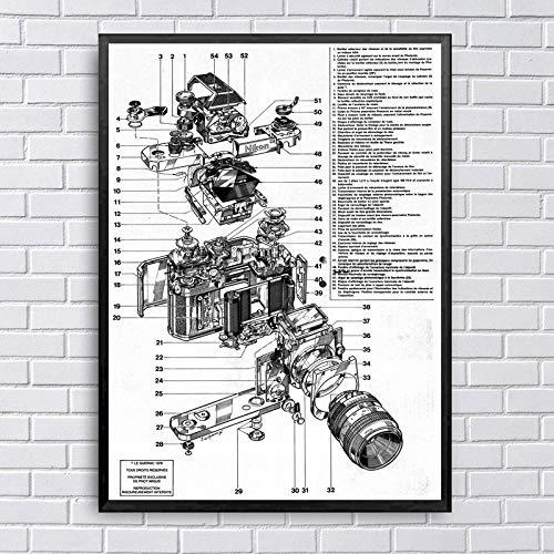 KELDOG® Nikon camera poster print, structuur diagram kunst canvas schilderij muurkunst afbeelding, voor wooncultuur 40 x 60 cm