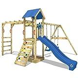 WICKEY Spielturm Smart Bridge Kletterturm Klettergerüst mit Doppelschaukel und Rutsche