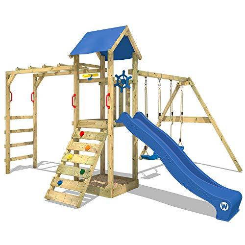 WICKEY Parque infantil de madera Smart Bridge con columpio y tobogán azul, Área de juegos da exterior, Escalera Sueco con arenero y pared de escalada para niños