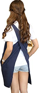 Soft Cotton Linen Apron Solid Color Halter Cross Bandage Aprons Japanese Style X Shape Kitchen Cooking Clothes Gift for Women Chef Housewarming (Navy Blue)