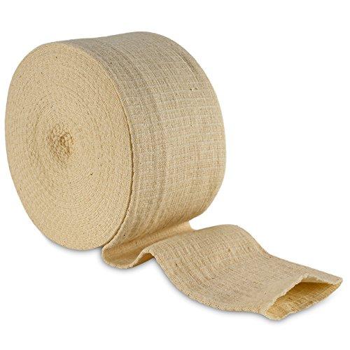 Vendaje tubular elástico tamaño E, caja de 10M - Color natural (9 cms X 10 metros) Venda grande para soporte de rodilla -medio muslo, licra y algodón