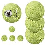 DONQL Juego de 4 manteles individuales redondos, lavables, de algodón, redondos, con 4 posavasos, adecuados para la cocina o el comedor, diferentes decoraciones (verde)