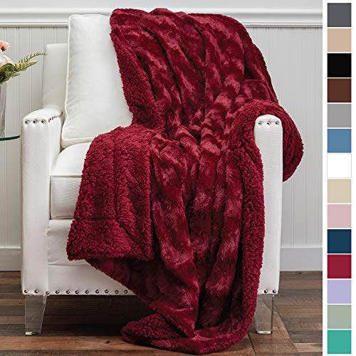 The Connecticut Home Company Luxury Faux Fur with Sherpa Reversible Kids Throw Blanket, Super Soft, Large Wrinkle Resistant Blankets, Warm Hypoallergenic Washable Couch or Bed Throws, 65x50, Merlot