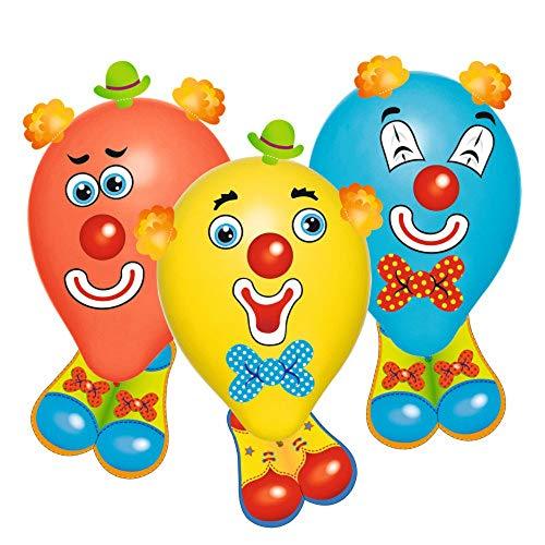 Susy Card 40015361 Luftballons Funny Clowns, Latex + Pappe mit Stickern, farbig sortiert, 6 Stück im Polybeutel mit Header