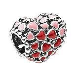 Chicbuy, Ciondolo a forma di cuore con all'interno cuori rossi e rosa, in argento 925, adatto per braccialetti originali Pandora e fai-da-te, idea regalo per San Valentino