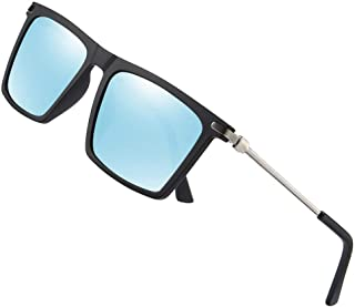 Fashion Men Vintage Rectangular Driving Fishing Sun Glasses UV Protection Mens Polarized Sunglasses Retro (Color : Blue)