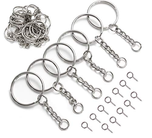 YHYZ Key Rings Chains with Jumper Rings and Screws(1 Inch), Sliver Metal Key Rings Keychain Ring (25mm) with Jumper Rings, Coming with Screws, Suitable for Crafts Jewelry Making Resin DIY (30 Sets)
